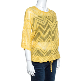 M Missoni Yellow Chevron Knit Drawstring Hem Detail Top M 257766
