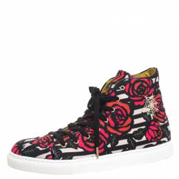 Charlotte Olympia Multicolor Rose Print Canvas High Top Sneakers Size 38.5 257791