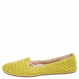 Bottega Veneta Yellow Intrecciato Leather Ballet Flats Size 40 257518
