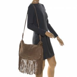 MICHAEL Michael Kors Light Brown Suede Dakota Fringe Shoulder Bag 257444