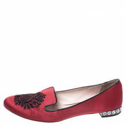 Miu Miu Red Satin Embroidered Crystal Studded Smoking Slippers Size 38.5 258085