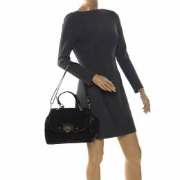 Dkny Black Signature Canvas and Leather Flap Lock Top Handle Bag 257556