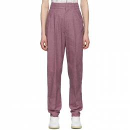 Isabel Marant Etoile Purple and Black Linen Loulia Trousers 20PPA1489-20P011E