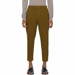 Homme Plisse Issey Miyake Yellow Wool-Like Light Trousers HP06FF005