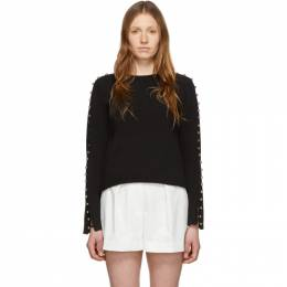 3.1 Phillip Lim Black Embellished Sleeve Sweater E203-7195VCK