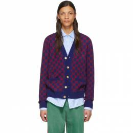 Gucci Blue and Red GG Cardigan 597724 XKA4R