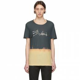 Balmain Grey and Beige Tie-Dye Signature Logo T-Shirt TH11601Z401