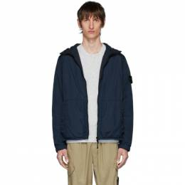 Stone Island Blue Nylon Rep Hooded Coat 721543330