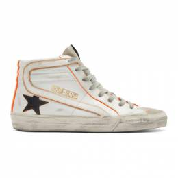 Golden Goose Deluxe Brand White and Orange Slide High-Top Sneakers G36MS595.A86