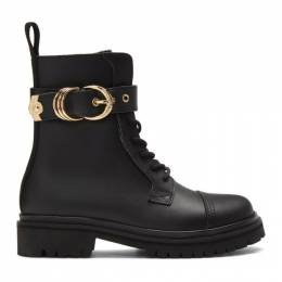 Versace Jeans Couture Black Leather Hiking Boots E0VVBS41 E71387