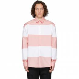 J.W. Anderson White and Pink Oversized Panelled Shirt SH0012-PG0128
