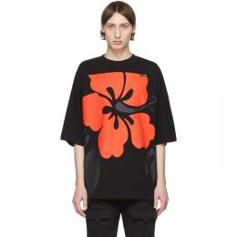 Palm Angels Black and Red Hibiscus Logo T-Shirt PMAA047R204130011001