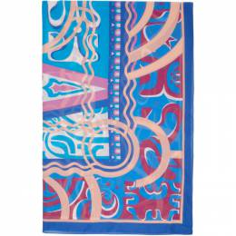 Emilio Pucci	 Blue Printed Long Pareo 0EPD02-0E951