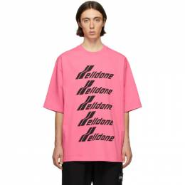 We11Done Pink and Black Logo T-Shirt WD-TP6-20-074-U-PK