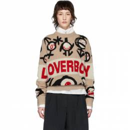 Beige Logo Gender Symbols Sweater Charles Jeffrey Loverboy CJLSS20LLGSJ