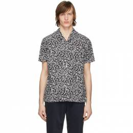 Officine Generale Black and White Seersucker Dario Short Sleeve Shirt S20MSHI013PRE