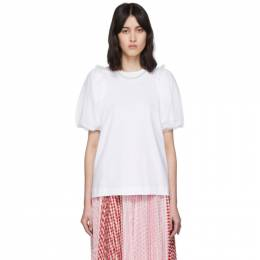 Simone Rocha White Inverted Puff Sleeve Pearl T-Shirt TS264B 0553 COTTON JE
