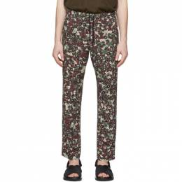 Dries Van Noten Burgundy Floral Drawstring Trousers 20926-9004-358