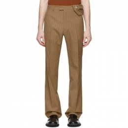 Dries Van Noten Brown and Red Pinstripe Trousers 20973-9037-102