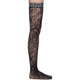 Black Logo Band Lace Stockings Versace Underwear AUD10028 AN00254