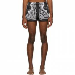 Dolce and Gabbana Black and White Bandana Swim Shorts M4A06T HHMWF