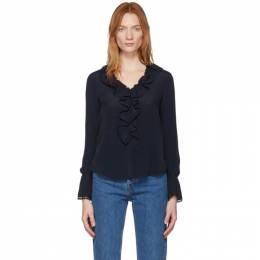 See by Chloe Navy Crepe De Chine Ruffle Front Blouse CHS20SHT36014
