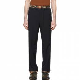 Dries Van Noten Navy Wool Double Waistband Trousers 20953-9111-509