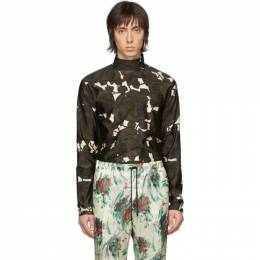 Dries Van Noten Green and Off-White Floral Mock Neck T-Shirt 21119-9085-976
