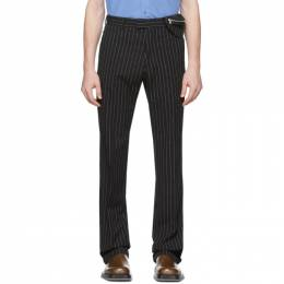 Dries Van Noten Black and White Pinstripe Trousers 20973-9324-900