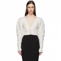 Wandering Off-White Cable Knit Cropped Cardigan WGS20901