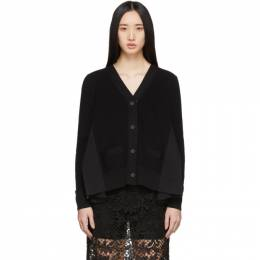 Sacai Black Wide Pleated Cardigan 20-04904