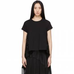 Sacai Black Embroidered Lace Back T-Shirt 20-04942