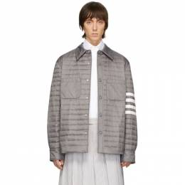 Thom Browne Grey Down 4-Bar Quilted Shirt Jacket MJD068X-05411