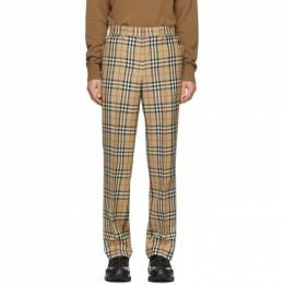 Burberry	 Beige Check Flap Tailored Trousers 8022545