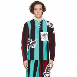 Blue and Black Magpie Stripe Rugby Polo Charles Jeffrey Loverboy CJLSS20MSR