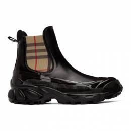 Burberry	 Black Coated Canvas Chelsea Boots 8021801