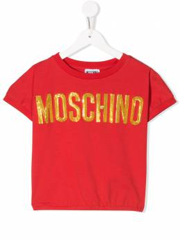 Moschino Kids TEEN embellished logo T-shirt HDM03GLBA10