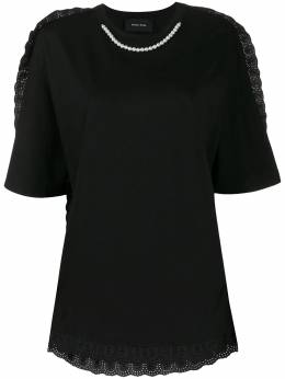 Simone Rocha pearl-embellished broderie anglaise T-shirt TS269B0553