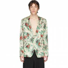 Dries Van Noten Off-White and Multicolor Viscose Floral Blazer 20449-9079-006