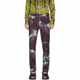 Dries Van Noten Purple and Green Wool Floral Trousers 20911-9139-401