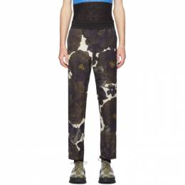 Dries Van Noten Off-White and Green Floral Elastic Waist Trousers 20929-9140-005