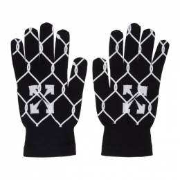 Off-White Black and White Knit Fence Gloves OMNE020S201200301001