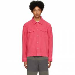 Homme Plisse Issey Miyake Pink Pleated Tailored Jacket HP06JC208