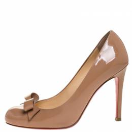 Christian Louboutin Beige Patent Leather Bow Vinodo Pumps Size 36 268283
