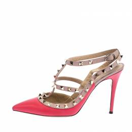 Valentino Pink Leather Rockstud Cage Sandals Size 39.5 267466