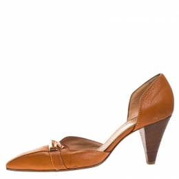 Casadei Brown Leather Padlock Detail Half D'orsay Pumps Size 37.5 268300
