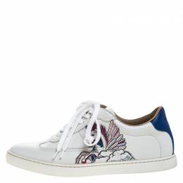Hermes White Pégase Pop Print Leather Quicker Low Top Sneakers Size 38