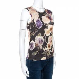 Dior Multicolor Floral Print Wool Silk Knit Sleeveless Top M 266762