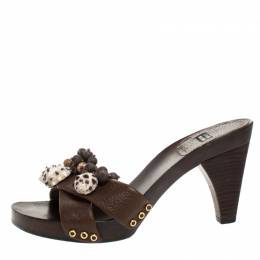 Stuart Weitzman Brown Leather Conch Shell And Bead Embellished Wooden Platform Sandals Size 37 268900