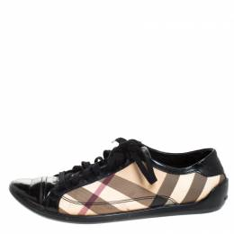 Burberry Black/Beige Nova Check PVC and Leather Lace Low Top Sneakers Size 39 269246